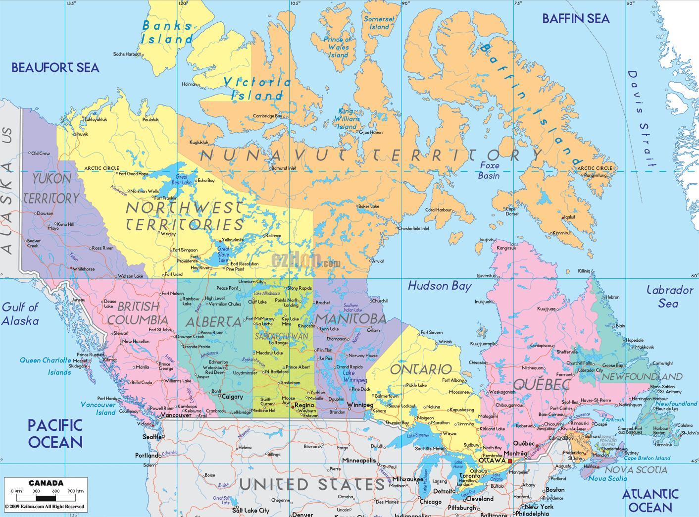 Canada Byer Kart Kart Over Canada Som Viser Byer Nord Amerika