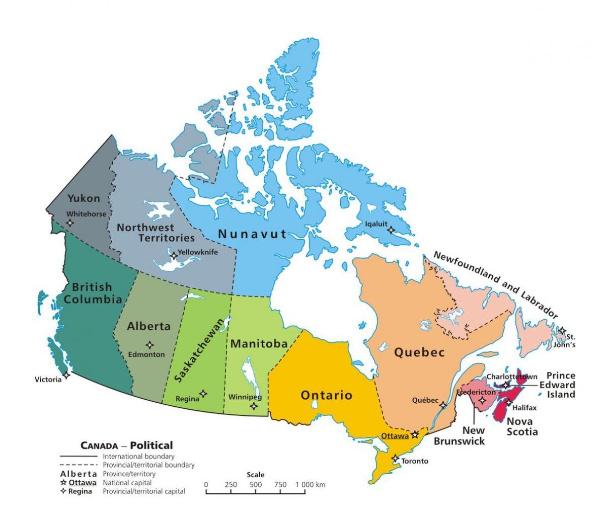 canada kart Canada territorier kart   Kart over Canada viser provinser og  canada kart