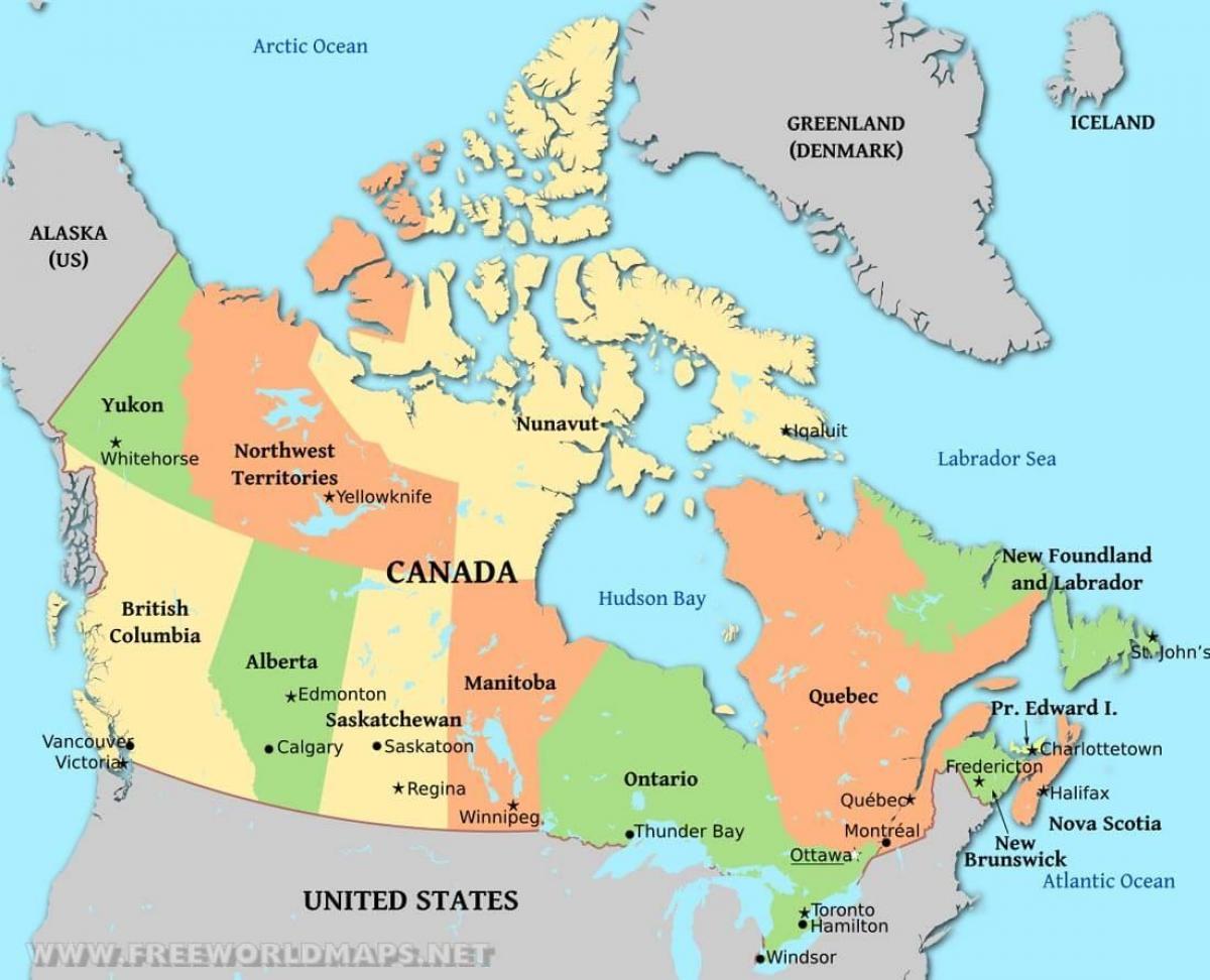 kart over nord amerika Politisk kart over Canada   Et politisk kart over Canada (Nord  kart over nord amerika